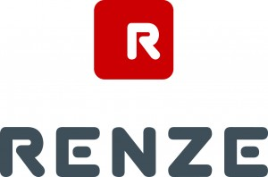 Renze CMYK Red + Cool Grey Stacked Logo White R Master