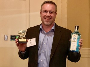 2019 Roast Mike Compton with trophy and gin