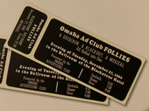 Tickets to the Omaha Ad Club Follies hosted on December 27, 1966.